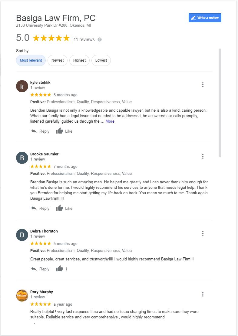 Basiga Law - Google Reviews